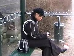 Slut gets picked up from a bus stop