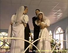 Sharing their newly wed wives Anal DP