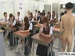 New Japanese transfer student goes naked in school CFNM style