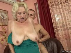 Blonde grandma with huge saggy tits fucks a stud