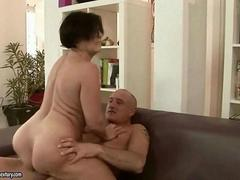 Hot mature woman enjoys a hard cock ride