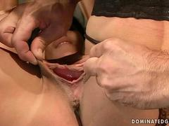 Brunette gets tied up and fucked hard