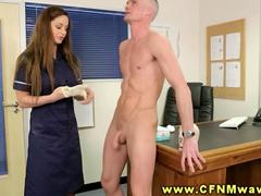 CFNM doctor and nurse stroke patients cock during appointment