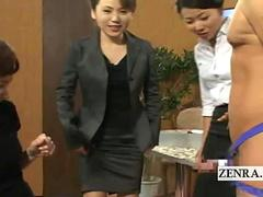 Subtitled CFNM Japanese news reporters risque handjobs
