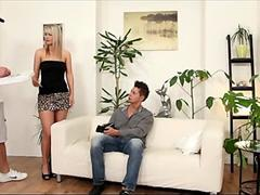 Bisexual MMF Threesome with Big Tits Blonde