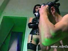 Mistress Ovidie Wears Leather Gloves And makes her slave suffer