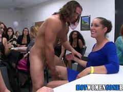 Cfnm office sluts licked and face fucked by strippers