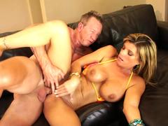 Big boobs bikini MILF gives an outdoor blowjob before moving inside to screw