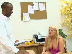 Black guy creampies busty blonde pussy after interracial hardcore sex