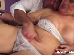Hairy Granny Muff Gets some good pounding
