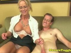 Mature cfnm milf tugging hard cock