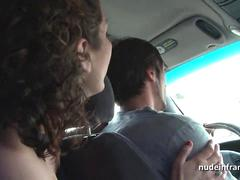 Exhib french milf masturbating in the taxi before getting ass fucked by the driver