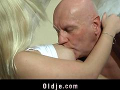 Rich old man dates and sexs his young blonde mistress in a hotel