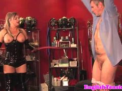 Chubby english mistress in leather dominates