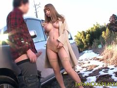 Busty japanese pounded after outdoor bj