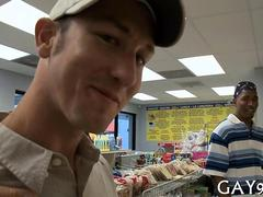 White and black guys ass fucking in a big store in public