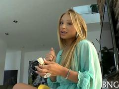 Petite blonde teen face sitting on her mesmerized lover