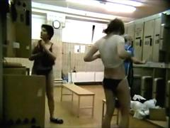 Amateur girls unaware of locker room spy camera