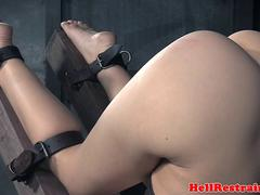 Cuffed submissive flogged by master