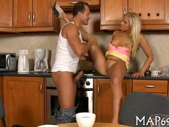 Golden brown blonde babe fucked on a kitchen counter