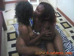 Amateur Lesbians From Africa Kiss And Fuck On Zebra Rug
