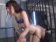 Skinny Japanese babe gets her ass licked in the prison