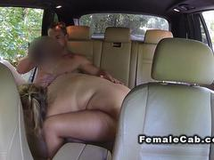 Fat female fake taxi driver fucks customer