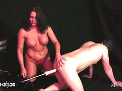 Hot Mistress Carly with big boobs fucks slaves ass with spunk lubed sex machine cock