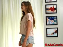 Redhead casting babe banged at sexaudition