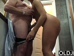 A kinky graceful babe is eager to taste that whopping pecker inside her wet pudenda in multiple poses of her grandpa