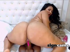Big Ass Latina Dildo Rides On Webcam