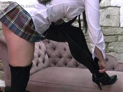 Dressed as schoolgirl babe puts on mums silky smooth leather high heel thigh boots over sexy nylons