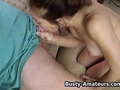 Busty Kurious blowing small white cock