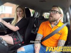 Fake Driving School Fake instructors hot car fuck with busty blonde minx