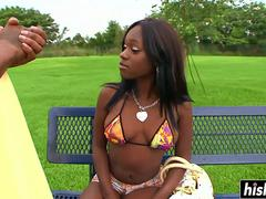 Ebony chick knows how to fuck properly
