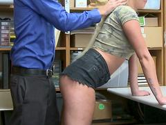 Foreign hottie is caught and stuffed deep when caught stealing