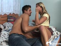Smoking blonde rides a nice stiff shaft