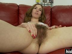 Long dong penetrates her hairy pussy