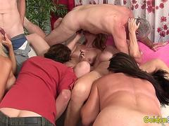 Four Horny Older Sluts Work Their Mouths and Pussies in a Hot Mature Orgy
