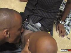 Black chick happily pleasuring his hard bbc