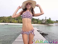 Hot blonde model flashing her tits out and around a Thai tourist resort