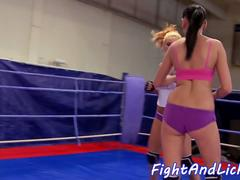 Wrestling les masturbating in the boxing ring