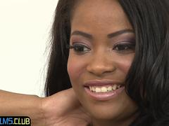 Gorgeous black babe gets in interviewed