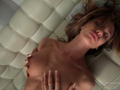 Busty russian babe Kate Rubinovich teasing on the sofa in POV video