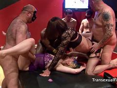 Shemale joins in at the gangbang orgy