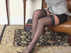 Horny blonde AxaJay finger fucks her wet pussy in girdle and vintage nylons to juicy orgasm
