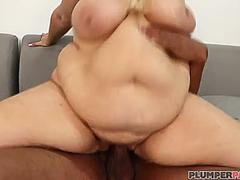 Busty Fat Mom Lila Lovely Drools and Slobs on Big Black Cock