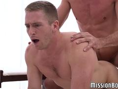 Young muscled Mormon cums as his asshole gets barebacked