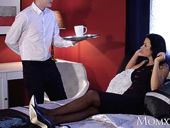 MOM Hot and lonely MILF room service special with young bell boy