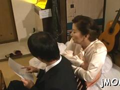 Cheerful mature darling chizuru iwasaki enjoys fang